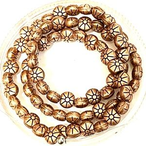 """16"""" Strand of Floral Print Copper Beads"""